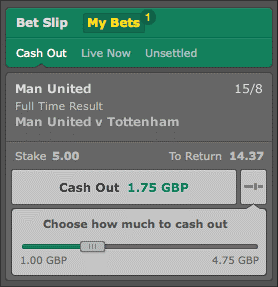 Cash out slider bet365